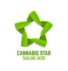 Modern cannabis star logo vector