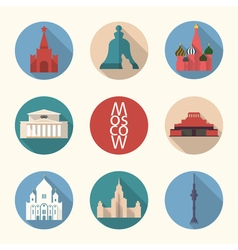 Moscow symbos icon set vector