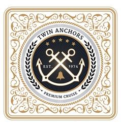 Nautical twin anchors retro card vector