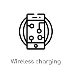Outline wireless charging icon isolated black vector