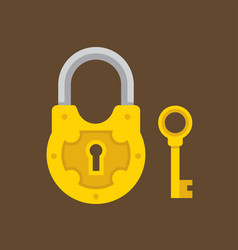 padlock and key flat vector image