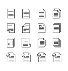 Paper documents line icon set vector