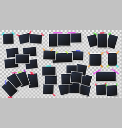 photos on color adhesive tapes snapshots frames vector image
