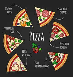 Pizza slices blackboard pizzeria menu colorful vector