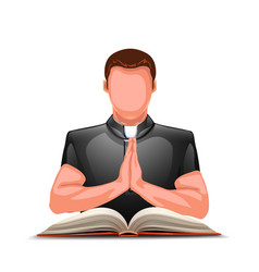 Priest praying with book vector