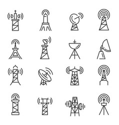 Radio towers masts thin line icons set isolated vector