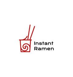 Ramen cup icon japanese food logo template vector