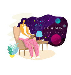 reading woman flat style design vector image