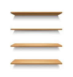 realistic 3d detailed wooden shelves set vector image