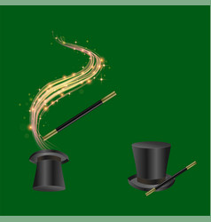 realistic magic wand and hat vector image