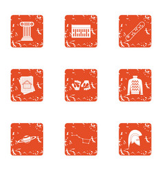 Reconstruction icons set grunge style vector
