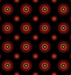 Red and yellow abstract flowers vector