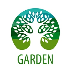 Round logo tree for the garden vector