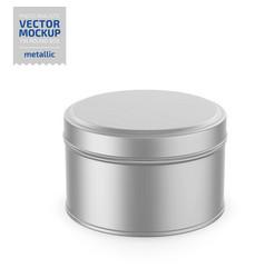 round metallic tin round box template vector image