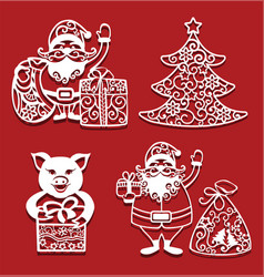 Santa claus holding christmas bag and gift pig vector