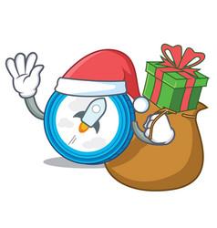 Santa with gift stellar coin character cartoon vector