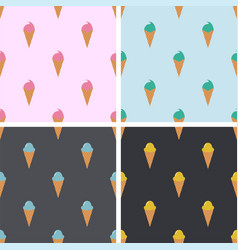 seamless patterns with icecream cones vector image