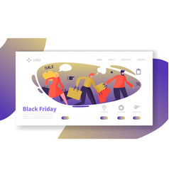 seasonal discount website layout with flat people vector image
