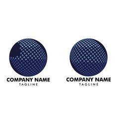 set digital pixel globe logo design template vector image