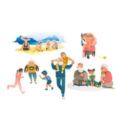 set grandparents and grandchildren leisure flat vector image
