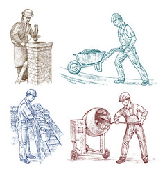 set of builders technicians or cement engineers vector image