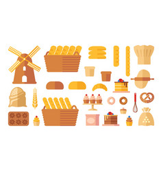set of flat bakery icons vector image