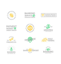 set of retro vintage money and bank logo or vector image