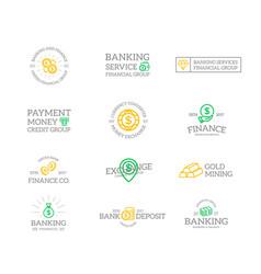 Set of retro vintage money and bank logo vector