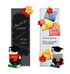 Set of two vertical banners with student vector image