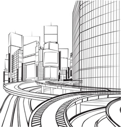 sketch silhouette city vector image