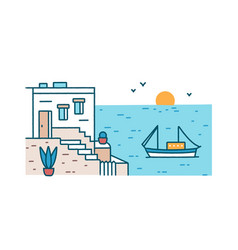 Summertime scenery with beautiful hotel building vector