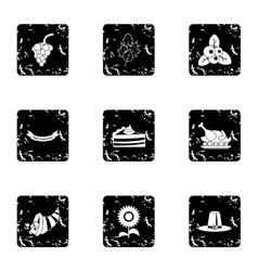 Thanksgiving feast icons set grunge style vector