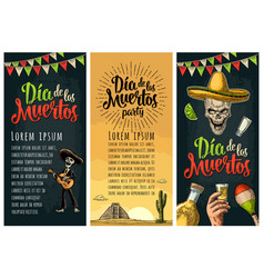 three vertical poster for dia de los muertos vector image