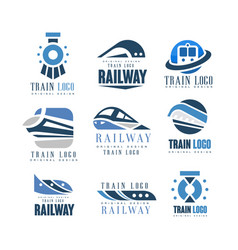 Train logo original design set modern railway vector