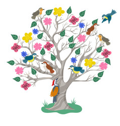 tree and birds in doodle style isolated on white vector image