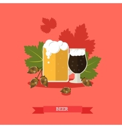 two beer mugs with hops vector image