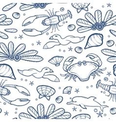 Underwater engraving tropic life seamless pattern vector
