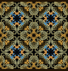 vintage damask gold paisley seamless pattern vector image