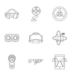 vr innovation icons set outline style vector image
