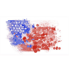 watercolor painting flag america abstract of vector image