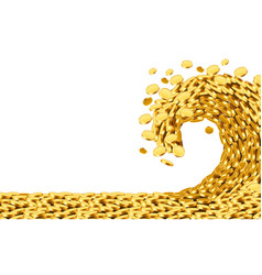 Wave money huge tsunami wave gold coins vector