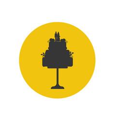 wedding cake silhouette vector image