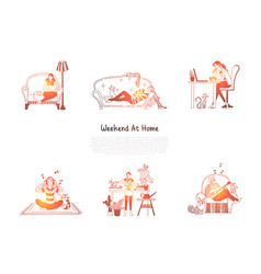 weekend at home - woman reading vector image