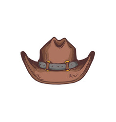 Western american cowboy hat cartoon icon sketch vector