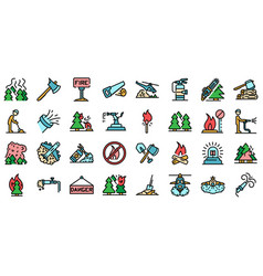 wildfire icons flat vector image
