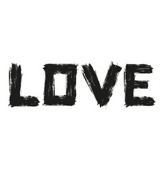 Word love drawn with brush strokes vector