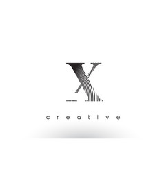 x logo design with multiple lines and black and vector image
