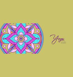 yoga studio banner indian flower mandala art vector image