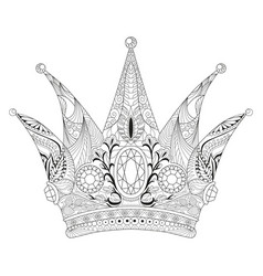 zentangle stylized crown hand drawn lace vector image