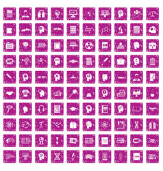 100 knowledge icons set grunge pink vector